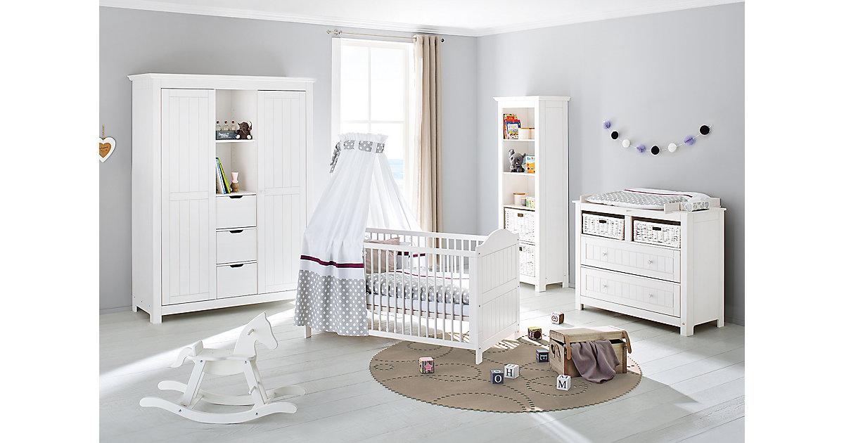 Komplett Kinderzimmer NINA, 3-tlg. (Kinderbett, breite Wickelkommode und großer 2-türiger Kleiderschrank mit Mittelregal), massiv/Weiß lasiert weiß Gr. 70 x 140