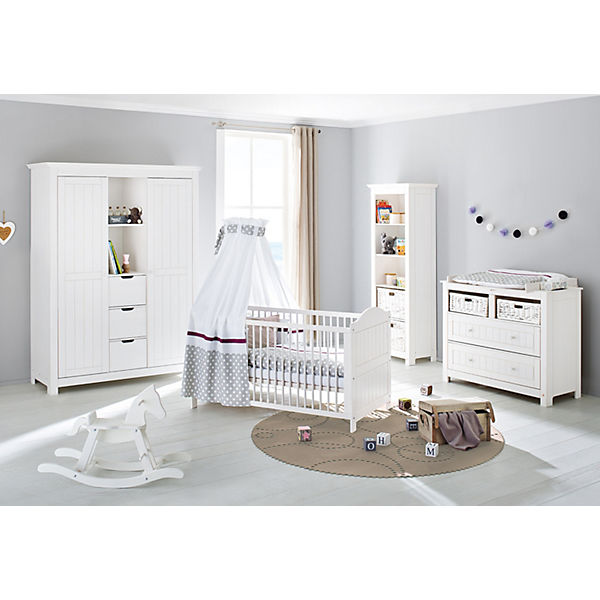 komplett kinderzimmer nina 3 tlg kinderbett breite wickelkommode und gro er 2 t riger. Black Bedroom Furniture Sets. Home Design Ideas