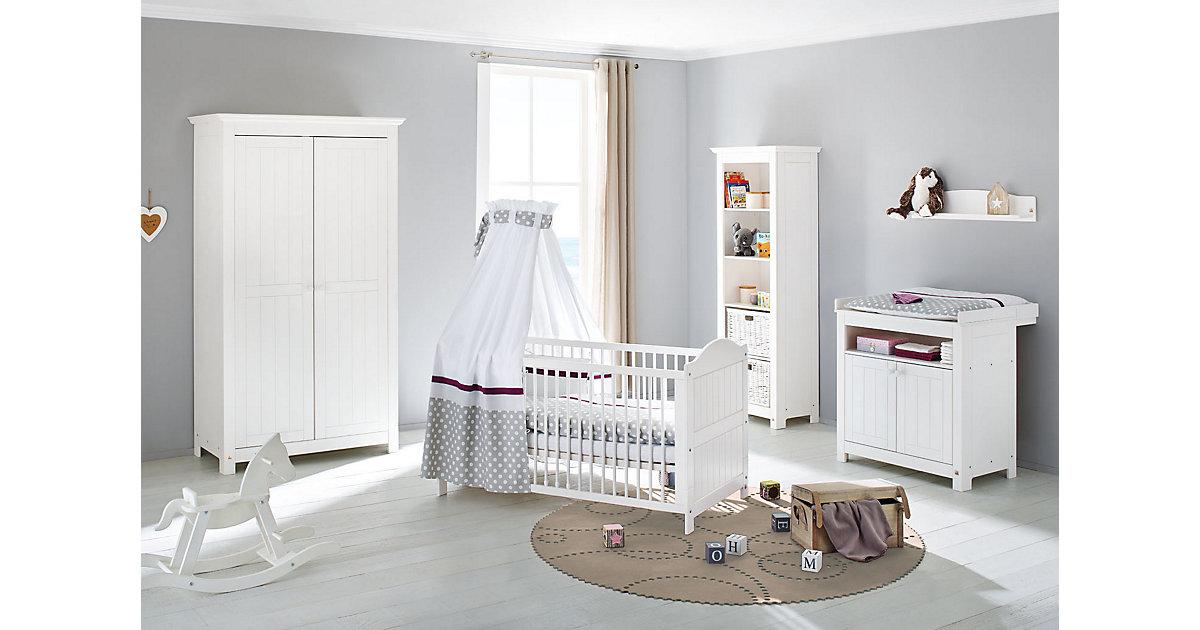 Komplett Kinderzimmer NINA, 3-tlg. (Kinderbett, Wickelkommode und 2-türiger Kleiderschrank), massiv/Weiß lasiert weiß Gr. 70 x 140