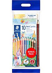 TRICKI DICKI Jumbo-Farbstifte, 10 Farben, inkl. Bleistift & Spitzer