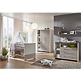 Komplett Kinderzimmer ECO SILBER, 3-tlg. (Kinderbett, Wickelkommode und 3-türiger Kleiderschrank), Pinie silber/weiß
