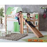 Spielbett ELIYAS mit Rutsche, Buche massiv, 90 x 200 cm
