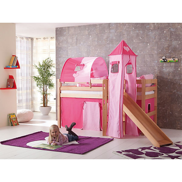 spielbett eliyas mit rutsche buche massiv natur lackiert. Black Bedroom Furniture Sets. Home Design Ideas