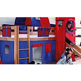 Vorhangset für Spielbett KIM, ALEX mit Turm, blau/rot