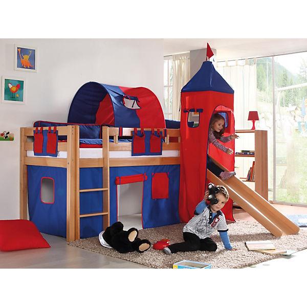 vorhangset f r spielbett kim alex mit turm blau rot relita mytoys. Black Bedroom Furniture Sets. Home Design Ideas