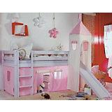 Vorhangset für Spielbett KIM, ALEX mit Turm, rosa/weiß
