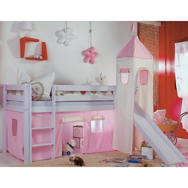 vorhangset f r spielbett kim alex mit turm rosa wei. Black Bedroom Furniture Sets. Home Design Ideas