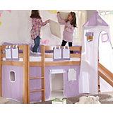 Vorhangset für Spielbett KIM, ALEX mit Turm, lila/weiß Herz