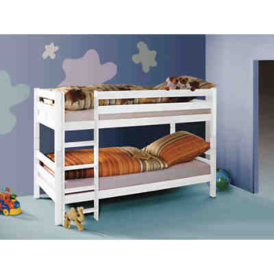 etagenbett beni buche massiv wei 2 x 90 x 200 cm relita mytoys. Black Bedroom Furniture Sets. Home Design Ideas