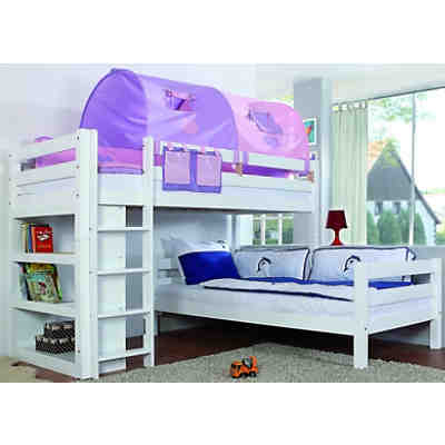etagenbett beni l form mit regal buche massiv wei 2 x 90 x 200 cm relita mytoys. Black Bedroom Furniture Sets. Home Design Ideas