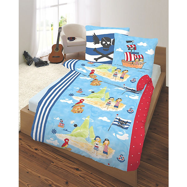 kinderbettw sche pirateninsel biber 135 x 200 cm mytoys. Black Bedroom Furniture Sets. Home Design Ideas