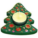 Teelichthalter Holz Weihnachtsbaum zum Selbstgestalten, 3 Stück
