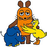 Wandsticker Sendung mit der Maus, Maus / Elefant und Ente