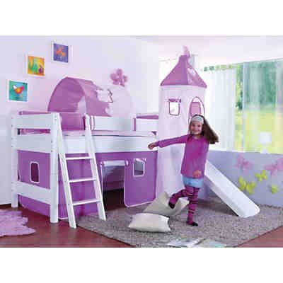 spielbett kim mit rutsche turm buche massiv wei 90 x. Black Bedroom Furniture Sets. Home Design Ideas