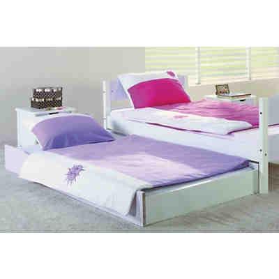 himmelbett stella mit stoffset buche massiv lila wei. Black Bedroom Furniture Sets. Home Design Ideas