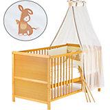 Kinderbett komplett, Kiefer honig, teilmassiv, Eselchen, 70 x 140 cm
