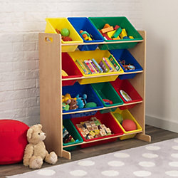 12 boxen regal natur bunt kidkraft mytoys. Black Bedroom Furniture Sets. Home Design Ideas