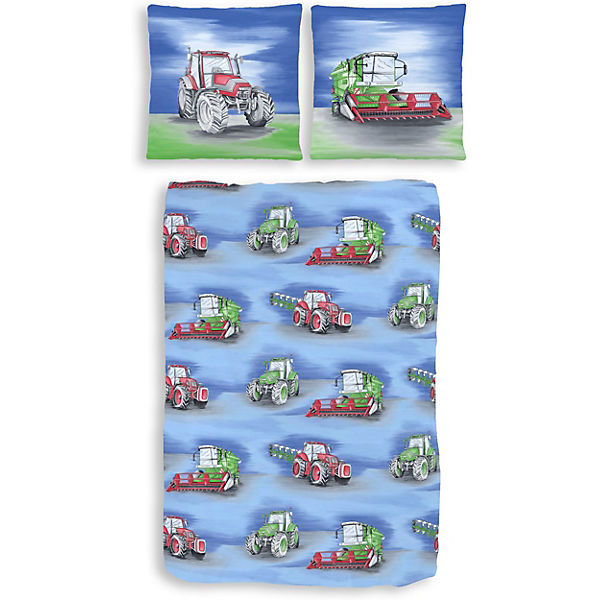 kinderbettw sche traktor biber blau 135 x 200 cm mytoys. Black Bedroom Furniture Sets. Home Design Ideas
