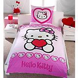 Kinderbettwäsche Hello Kitty Herzen, Renforcé, 135 x 200 cm