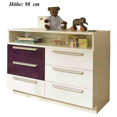 kommode milla mit 6 schubk sten wei lila hochglanz wickelh he 98 cm wellem bel mytoys. Black Bedroom Furniture Sets. Home Design Ideas