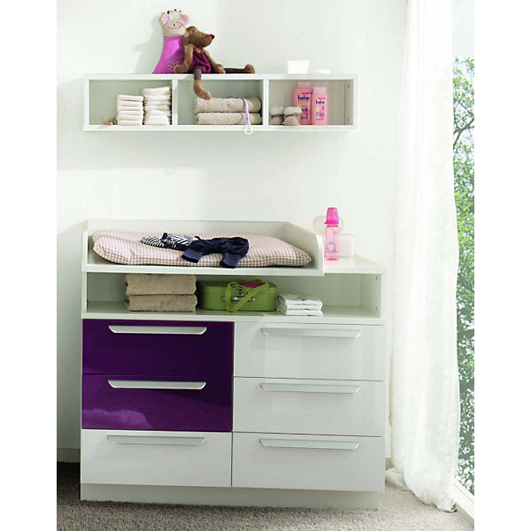 kommode milla mit 6 schubk sten wei lila hochglanz wickelh he 98 cm wellem bel mytoys. Black Bedroom Furniture Sets. Home Design Ideas