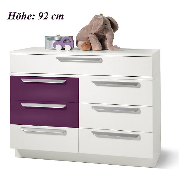 kommode milla mit 7 schubk sten wei lila hochglanz wickelh he 92 cm wellem bel mytoys. Black Bedroom Furniture Sets. Home Design Ideas