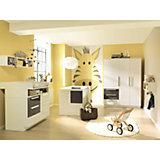 Komplett Kinderzimmer MILLA groß, 4-tlg. (Kinderbett, Kommode, Wickelaufsatz und 3-türiger Kleiderschrank), Weiß/Lava Hochglanz