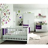 Komplett Kinderzimmer MILLA, 4-tlg. (Kinderbett, Kommode, Wickelaufsatz und 2-türiger Kleiderschrank), Weiß/Lila Hochglanz