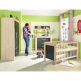 Komplett Kinderzimmer LASSE, 4-tlg. (Kinderbett, Kommode, Wickelaufsatz und 2-türiger Kleiderschrank), Esche/Lava