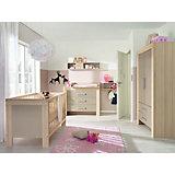 Komplett Kinderzimmer LASSE, 4-tlg. (Kinderbett, Kommode, Wickelaufsatz und 2-türiger Kleiderschrank), Esche/Sandgrau