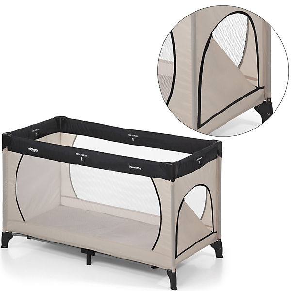 reisebett dream 39 n play plus beige grey hauck mytoys. Black Bedroom Furniture Sets. Home Design Ideas