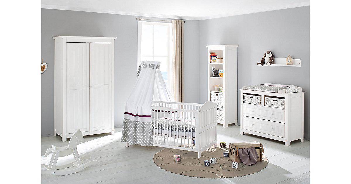 Komplett Kinderzimmer NINA, 3-tlg. (Kinderbett, breite Wickelkommode und 2-türiger Kleiderschrank), massiv/Weiß lasiert weiß Gr. 70 x 140