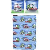 Kinderbettwäsche Traktor, Renforcé, blau, 135 x 200 cm
