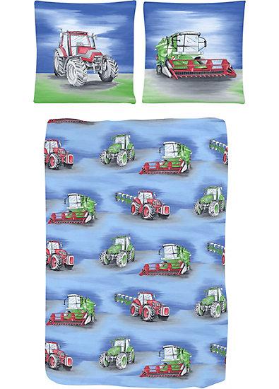 Kinderbettwäsche Traktor, blau, Linon, 135 x 200 cm