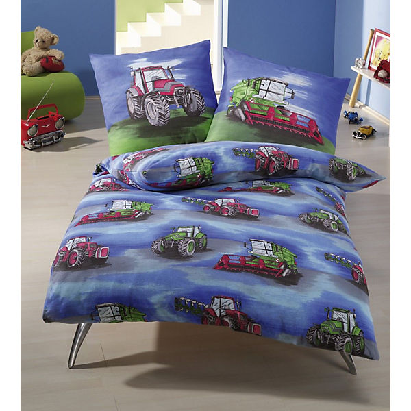 kinderbettw sche traktor renforc blau 135 x 200 cm. Black Bedroom Furniture Sets. Home Design Ideas