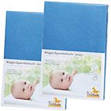 Spannbettlaken für Wiege, 39 x 70 bis 55 x 90 cm, Jersey, 2er Set, blau