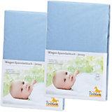 Spannbettlaken für Wiege, 39 x 70 bis 55 x 90 cm, Jersey, 2er Set, hellblau