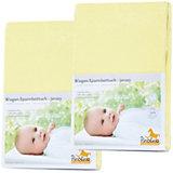 Spannbettlaken für Wiege, 39 x 70 bis 55 x 90 cm, Jersey, 2er Set, gelb