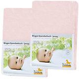 Spannbettlaken für Wiege, 39 x 70 bis 55 x 90 cm, Jersey, 2er Set, rosa