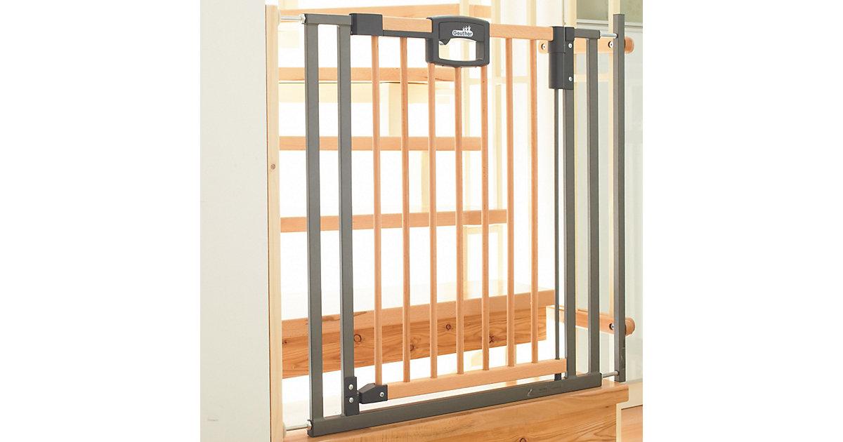 Treppenschutzgitter Easy Lock Wood, Holz / Metall, 84,5 - 92,5 cm braun