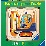 Holzpuzzle Gelber Bagger 5 Teile