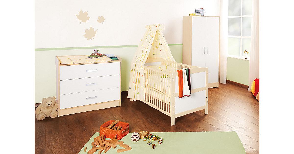 Komplett Kinderzimmer FLORIAN groß, 3-tlg. (Kinderbett, Wickelkommode breit und 2-türiger Kleiderschrank), Ahorn/Cremeweiß Gr. 70 x 140