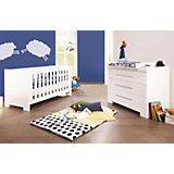 Kinderbett & breite Wickelkommode CLOUD, Weiß/Hochglanz
