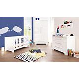 Komplett Kinderzimmer CLOUD groß, 3-tlg. (Kinderbett, Wickelkommode breit und 2-türiger Kleiderschrank), Weiß/Hochglanz