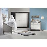Komplett Kinderzimmer NORDIC DRIFTWOOD, 3-tlg. (Kinderbett + US, Wickelkommode und 3-türiger Kleiderschrank), Drift Wood/weiß