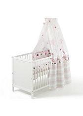 Kinderbett Leo komplett, weiß, Banjo pink, 60 x 120 cm