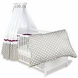 Kinderbett Viktoria komplett, Punkte grau, 70 x 140 cm