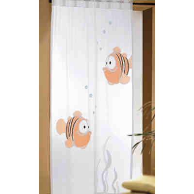 gardine fische schwarz orange 245 x 140 cm 1 schal. Black Bedroom Furniture Sets. Home Design Ideas
