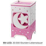 LED Nachttischlampe Mond & Sterne, rosa/weiß