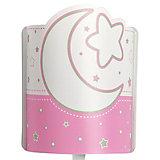 LED Wandlampe Mond & Sterne, rosa/weiß